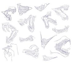 Im kind of stuck in an art block right now so maybe doodling these helped a little bit c: - Free to use, . A Lot Of Teeth 2 - Free To Use Animal Drawings, Art Drawings, Teeth Drawing, Dragon Sketch, Drawing Base, Dragon Art, Art Studies, Drawing Techniques, Creature Design