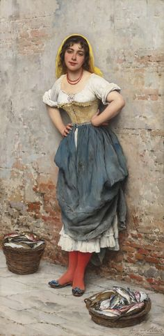 The Athenaeum -A Young Fishwife Eugene de Blaas - 1895 Private collection Painting - oil on panel Height: cm in. Classic Paintings, Beautiful Paintings, Romantic Paintings, European Paintings, Carl Spitzweg, Jean Leon, Religious Paintings, Illustration Art, Illustrations