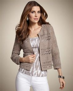 Crochet Blouse Patterns Winnie Crochet Cardigan - Show off your fun, easy, individual style with the open-weave cardigan that's perfectly proportioned. Diy Crochet Cardigan, Gilet Crochet, Free Crochet, Knit Crochet, Easy Crochet, Knitting Patterns, Crochet Patterns, Crochet Jacket Pattern, Vest Pattern