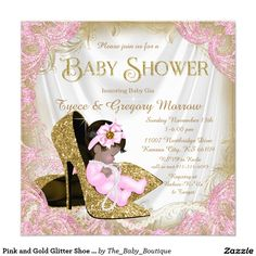 ethnic princess tutu pink gold baby shower card | the o'jays, gold, Baby shower invitations