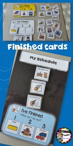 "I use these ""Finished Cards"" for my kiddos that finish their scheduled tasks early and need guidance then. Special Education Behavior, Classroom Behavior Management, Behaviour Management, Autism Activities, Autism Resources, Social Emotional Learning, Social Skills, Visual Schedules, Visual Schedule Autism"
