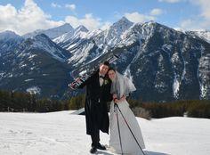 Wedding photo shoot on skis at Panorama, BC. Fun!
