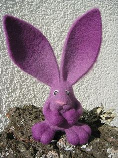 purple rabbit at feltedcreatures / etsy