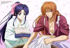 Rurouni Kenshin - Kenshin Himura x Kaoru Kamiya Rurouni Kenshin, Kenshin Anime, Sailor Moon Background, Studio Deen, Estilo Anime, Japanese Outfits, Manga, Down Hairstyles, Purple Hair