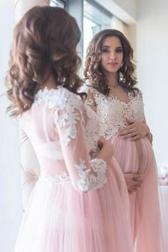 524b42e906d Blush Maternity Lace Dress for Photoshoot with Long Tulle Skirt