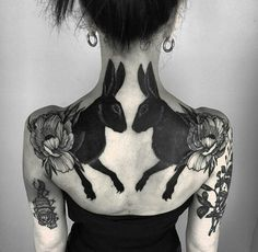 Black rabbits back tattoo by Henja Fin ( resident at Pechschwarz Tät. - Black rabbits back tattoo by Henja Fin ( resident at Pechschwarz Tätowierungen ( - Line Work Tattoo, Tattoo On, Cover Up Tattoos, Cool Back Tattoos, Metal Tattoo, Ankle Tattoo, Tattoo Quotes, Piercing Tattoo, Piercings