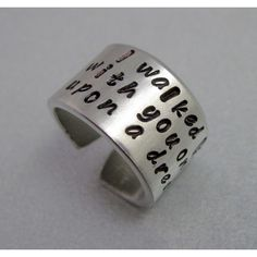 Sleeping Beauty Ring - Once Upon a Dream- Hand Stamped Aluminum Ring -... (17 AUD) ❤ liked on Polyvore featuring jewelry, rings, hand stamped sterling silver jewelry, cuff ring, cuff jewelry, sterling silver jewelry and sterling silver rings