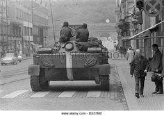 tank, patrol, Prague - Stock Image