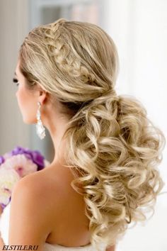 Braided and curled wedding low ponytail | 20 Gorgeous Wedding Hairstyles via…