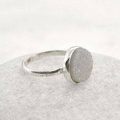 White Shimmer Druzy Round 11mm Ring Bezel Jewelry by BaniThani