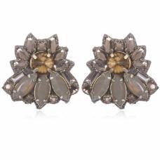 Sunset Boulevard Button Earrings - Pewter