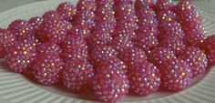 20mm hot pink rhinestone bubblegum beads (10ct) gumball beads chunky beads wholesale beads chunky necklace making supply by PinkPolkaDotHearts on Etsy