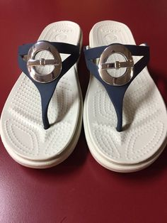 13f3e0532 Crocs Sanrah Circle Bow Wedge Flip Navy White Womans Size 9  fashion   clothing