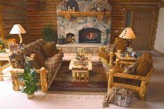 living room with american rustic design (homedit)