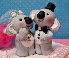 Cuddling Koala Bears Wedding Cake Topper and by Buttonwilloe, $68.00