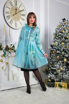 Raincoat for women Semi-transparent matte Frozen blue Decorated with black crystals Made to measure #RaincoatsForWomenBlue #RaincoatsForWomenFashion