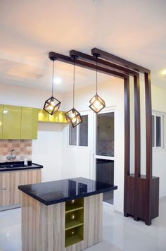 Modern open island kitchen by Interior Elements Add pretty pendant lights to your kitchen with an island // modern open small kitchen with pendant lights and light fixtures Living Room Partition Design, Room Partition Designs, Ceiling Design Living Room, Home Room Design, Living Room Designs, Kitchen Ceiling Design, Wood Partition, Kitchen Design Open, Interior Design Kitchen