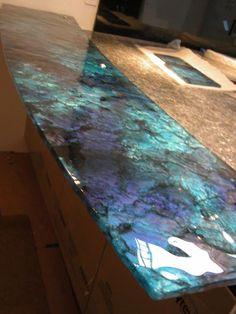 I truly adore this design for this - granite countertops Blue Granite Countertops, Epoxy Countertop, Kitchen Countertops, Custom Countertops, Countertop Options, Kitchen Worktop, Backsplash, Resin Furniture, Epoxy Floor