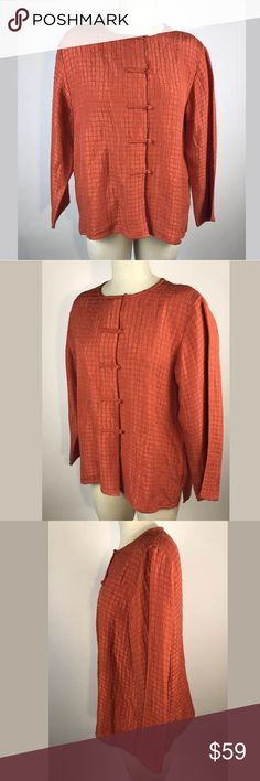 "Eileen Fisher Orange Silk Blend Blazer Size Large In very good conditions.  No stains or damages.                                Please ask any questions prior to purchase. Questions are usually answered the same day for your convenience.   Items are stored in a pet and smoke free environment.   Thanks for shopping in my store!    MEASUREMENTS: Pit to Pit 22"" Length (collar to hem) 24"" Eileen Fisher Jackets & Coats Blazers"