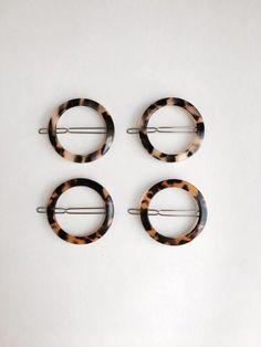 etsy tortoise geometric circle hair clip set of 4