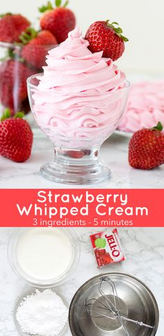 Homemade strawberry whipped cream using only 3 ingredients! Use this strawberry topping as frosting on cupcakes, cake and pie! Homemade strawberry whipped cream using only 3 ingredients! Use this strawberry topping as frosting on cupcakes, cake and pie! Strawberry Icing, Strawberry Whipped Cream, Strawberry Desserts, Köstliche Desserts, Strawberry Topping, Delicious Desserts, Yummy Food, Whipped Strawberry Frosting Recipe, Frosting Recipes