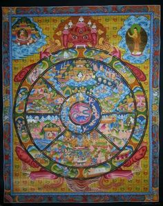 Wheel of Life, Size : 30*36 cm.                                                                                    The outer rim of the circle in this Mandala is divided into twelve sections to represent the stages of life beginning from ignorance to old age and death. The center of the circle represent the six realms of existence namely, Devas, Asuras, Human, Animal, Ghost beings, and Hell realms.    The whole Mandala is held by a huge monster - like figure, Hayagriva.
