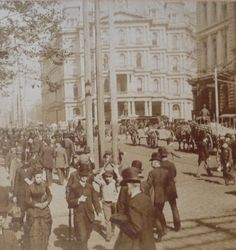 America's Gilded Age in NYC. A view of pedestrians walking on Broadway. Looking north towards the New York Post Office, c.1898. ~ {cwlyons}