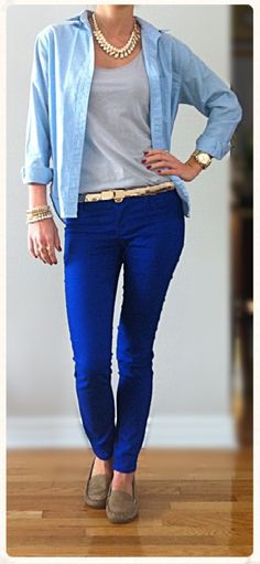 🎀 Opened light blue jean blouse over H grey tank top, royal blue jeans, Zara gold scaled belt, MK gold watch, gold necklace, Aldo gold fashion jewelry