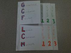 GCF and LCM Foldable. Simplifying Radicals.