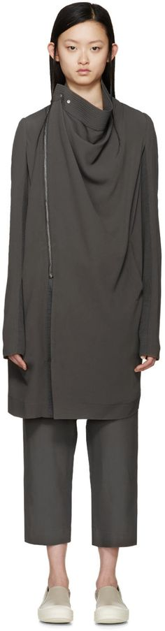 Image of Rick Owens Grey Silk Crepe Exploder Coat
