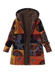 717584c15cf Printed Hooded Pockets Coats For Women Téli Outfitek