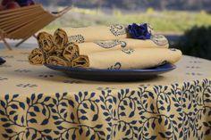 Yellow Tablecloths - Table Linens Design - Outdoor Tablecloth - Print Tablecloths - Hand Block Printed from Attiser