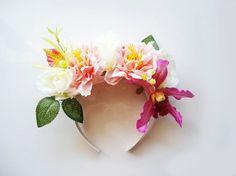 Tropical Enchantment Statement Headpiece/ Lana del Rey/ Floral Headband/ Floral Headpiece/ Wedding Flowers/ Summer