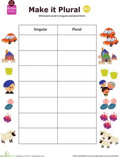 If your child has difficulty with plurals, give him extra practice with this worksheet that challenges him to write nouns in their singular and plural forms. oppgaver Get a Grip on Grammar: Make It Plural 2nd Grade Grammar, Spelling And Grammar, Grade Spelling, English Grammar For Kids, Teaching English, Speech Activities, Language Activities, Teaching Grammar, Teaching Reading