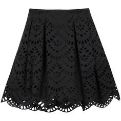 Womens Mini Skirts Alice + Olivia Connor Black Broderie Anglaise Mini... found on Polyvore