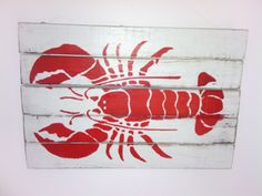 Coastal wall art lobster picture red size wooden slats rustic look. Coastal Wall Art, Wooden Slats, Boards, Rustic, Make It Yourself, Red, Pictures, Ebay, Planks