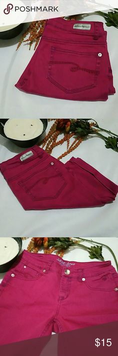 Justice Jeans Shine Bright These are a dark pink color for some reason the camera is making them look hot pink. I tried every which way to capture the color this is what I am ending up with.  Excellent condition no holes no stains smoke free pet free Justice Bottoms Shorts