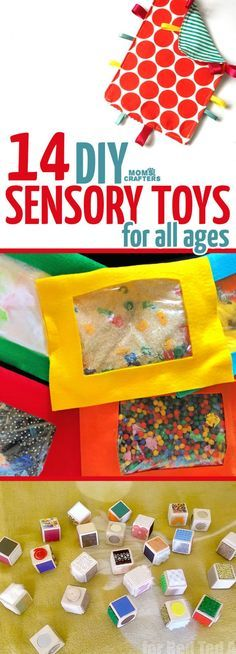 Make these cool toys for sensory play. DIY Sensory Toys - 14 Toys for Sensory Play – Moms and Crafters. and lots of fun! Diy Fidget Toys, Autism Crafts, Diy Sensory Board, Baby Sensory Play, Diy Sensory Toys For Babies, Diy Toys For Toddlers, Diy Educational Toys For Babies, Sensory Kids, Sensory Play