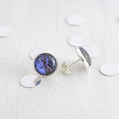 Fairy Lights stud earrings - 12mm earrings featuring miniature photography prints of fairy lights hanging in a tree