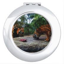 Tiger,-Teasing_The_Kids,_ Compact Mirror