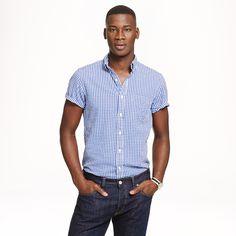 Short-sleeve shirt in gingham seersucker : Short Sleeve | J.Crew