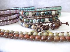 This bracelet wraps around the wrist 3 times and is finished with a lovely brown leather cord.