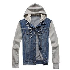 Cheap jackets and coats, Buy Quality mens denim jacket directly from China jean jacket hoodies Suppliers: 2017 Male hooded sportswear Outdoors Casual fashion Jeans Jackets Hoodies Cowboy Mens Denim Jacket and Coat Plus Size Denim Jacket With Hoodie, Denim Jacket Fashion, Men's Jacket, Bomber Jacket, Jean Vest, Jeans Fashion, Fleece Pullover, Hooded Sweater, Mens Fleece