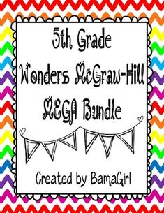 How would you like to purchase ALL my 5th grade Wonders McGraw-Hill reading products in one easy download?  Now you can!  This purchase includes 650 pages of resources to help you enhance your Wonders reading instruction!  Purchase the Mega Bundle and save money versus buying each bundle or unit separately!The following bundles for the entire year (units 1-6) are included...click on the title of each product to see exact descriptions and get a closer preview of each resource:5th Grade Daily…