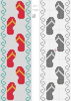 Flip Flop cross stitch Pattern Printable | flip flop bookmark by nevasirenda resources stock images designs ...