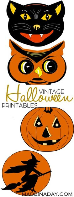 FREE Vintage Halloween Printable Garland, Print and cut out these super cool vintage Halloween characters for parties & garlands. vintage black cat, vintage pumpkin, vintage witch, vintage owl, orange, black garland, tutorial on madeinaday.com via @madeinaday