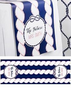 The Future MRS Personalized Table Runner - Nautical Bridal Shower Decor by Kate Aspen Summer Wedding Favors, Beach Wedding Reception, Cruise Wedding, Wedding Ideas, Wedding 2015, Bridal Shower Tables, Bridal Shower Decorations, Bridal Shower Favors, Wedding Decorations