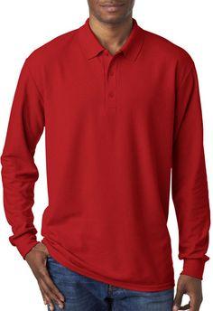 gildan(R) dryblend(R) adult double pique long-sleeve polo - red (l)