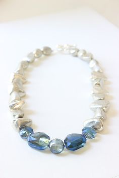 Silver plated stones steel blue colored glass by chunkysquare, $33.00