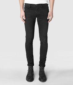 Mens Naniwa Cigarette Jeans (Washed Black) | ALLSAINTS.com
